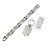 Brushed Stainless Steel Bracelet, Money Clip, and Key Chain Set