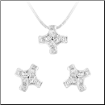 Sterling Silver & Baguette CZ Pendant and Earring Set