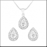 Sterling Silver & CZ Drop Pendant and Earring jewelry Set