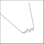 "16+2"" Sterling Silver and CZ Heartbeat Necklace"