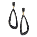 Gold Plated and Ruthenium Plated Black Crystal Drop Earrings