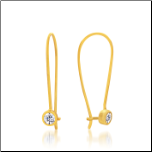 30mm Gold Vermeil and CZ Kidney Wire Earrings