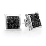 Sterling Silver 7mm  Unisex Kite Earrings with Black CZs