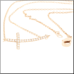 "18"" Rose Gold Plated Curved Sideways Cross with CZs"