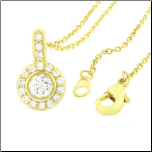 "18"" Gold Plated  CZ Circle Pendant with Chain"