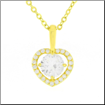 14K Gold Plated CZ Heart Shaped Pendant with Chain