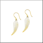 18g Casted Brass and Shell Pulma Leaf Organic Earrings