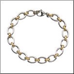 "8"" Inox Stainless Steel and PVD Gold Oval Link Bracelet"