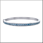 "6.75"" Stainless Steel Light Blue CZ Hinged Stackable Bangle Bracelet"