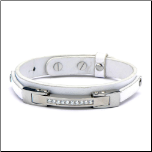 "6.25-8.5"" Adj White Leather, Stainless Steel, and CZ Bracelet"