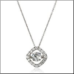 "16+2"" Diamond Shaped Crossfor Dancing Stone CZ Pendant and Chain"