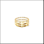 Designer Inspired Gold Over Sterling Silver 3 Band CZ Ring