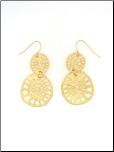Gold Plated Filigree Double Dangling Circle Earrings