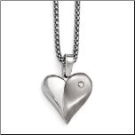 "16+2"" Edward Mirell Titanium Puffy Heart Necklace w/ White Sapphire"