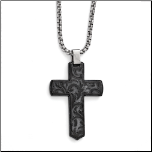 "20"" Edward Mirell Black Ti Casted Cross Necklace and Chain"