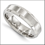 6mm Edward Mirell Brushed & Polished Titanium Band w/ Beveled Edges