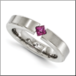 4mm Edward Mirell Satin Finished Titanium & Rhodolite Garnet Ring