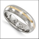 6mm Edward Mirell His & Hers Brushed Titanium & 14K Gold  Band