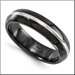 6mm Edward Mirell Domed Black Ti &14K White Gold His & Hers Ring
