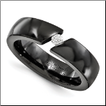 6mm Edward Mirell His and Hers Black Ti Diamond Ring