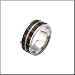 10mm Inox Stainless Steel Spinner Ring with Ip Black & Ip Rose Gold Inlays