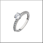 3mm Inox Stainless Steel and CZ Engagement Ring