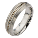 6mm Inox Stainless Steel Wedding Band with Rope Textured Center Inlay