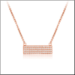 "16+1.5"" Rose Gold Vermeil 4 Row CZ Bar Necklace"