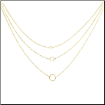 "16"",18"",20"" +2"" ext Triple Layer Necklace with Diamond Cut Circles"