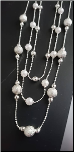 "16+2"" Triple Strand Pearl and Silver Ball Necklace"