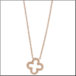 "16+2"" Inox Rose Gold Stainless Steel Quatrefoil  Necklace"