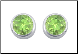 6 mm Sterling Siilver and Bezel Set Peridot CZ Post Back Stud Earrings