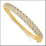 Gold Over Sterling Silver and CZ Multi-Row Bangle Bracelet