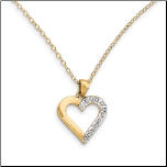 Gold Vermeil and Diamond Open Heart Pendant & Chain