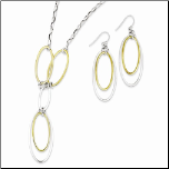 Sterling Silver and Gold Vermeil Drop Necklace and Earring Set
