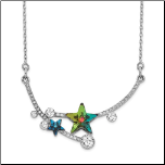 "15.5 + 2"" Sterling Silver & CZ Choker Necklace w/2 Multi-Color Stars"