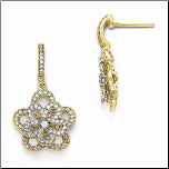 Gold Plated Sterling Silver (Vermeil)&CZ Dangling Flower Earrings