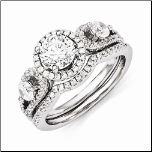 Sterling Silver and CZ 2 Piece Engagement and Wedding Ring Set