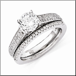 Sterling Silver and CZ Wedding Band/ Engagement Ring Set