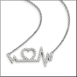 "15.75 + 2"" Sterling Silver and CZ Heartbeat Necklace"