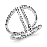 Designer Inspired Sterling Silver and CZ Hi-Style Ring