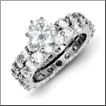 Sterling Silver and CZ Engagement and Wedding Ring Set