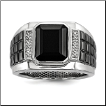 Sterling Silver Diamond and Black Onyx Ring