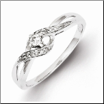 2mm Sterling Silver and Diamond Crossover Promise Ring