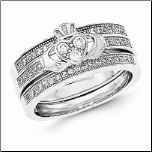 Sterling Silver 3 Ring Claddagh CZ Wedding Band Set