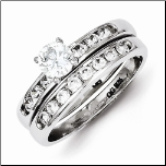 Rhodium Coated Sterling Silver and CZ Wedding Ring Set