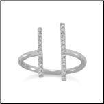 Rhodium Plated Double CZ Bar Ring