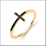 Gold Plated Sterling Silver Antiqued Sideways Cross Ring