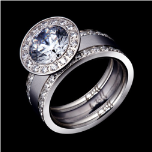 b.tiff Signity Star Man Made Diamond Halo Ring and 2 Eternity Bands