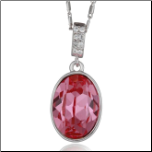 "17+2""Oval  Orange Red Ruby  Swarovski Crystal  Pendant & Chain"